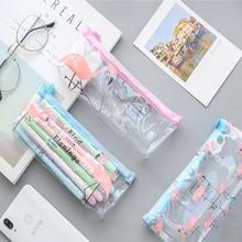 1Pcs/lot Small fresh and transparent  Flamingo Pencil Bags student stationery storage bag large pencil Kawaii Stationery