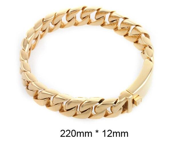 12 мм Для мужчин байкер браслет золото Цвет Кубинский Цепочка Нержавеющая  сталь браслет и браслет мужской c02a25276cd