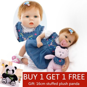 Reborn Dolls 55cm Silicone Vinyl Reborn Baby Doll lifelike Emulational Baby Reborn Doll Toy Girl Brinquedo Buy 1 get 1 free gift цена 2017