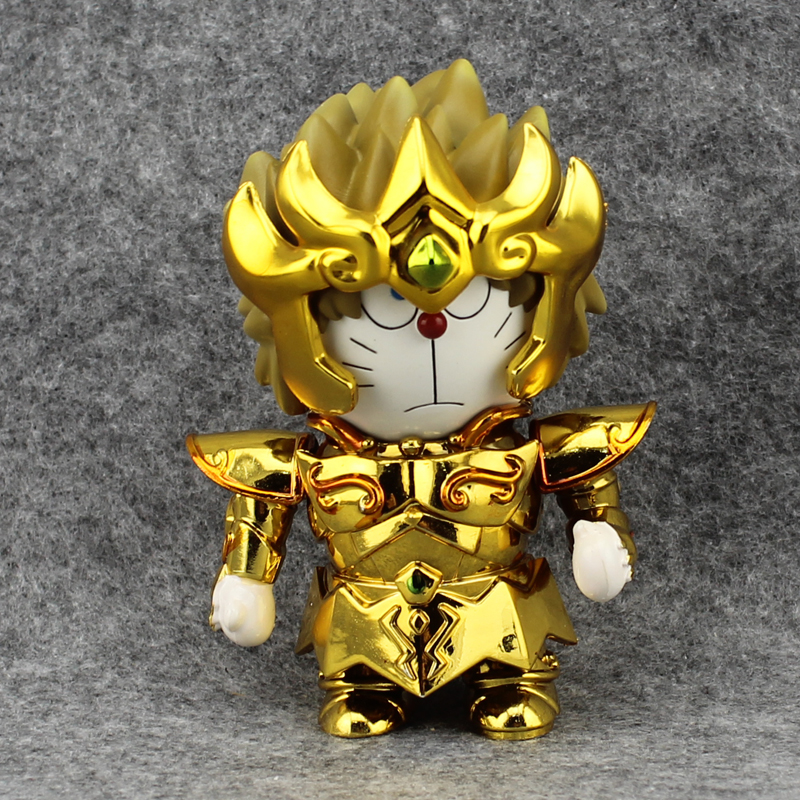 Free Shipping Cute 4 Anime Doraemon DoraCat Cosplay Show cos Saint Seiya Leo Boxed 10cm PVC Action Figure Model Doll Toys Gift