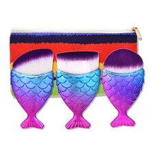 CREEZE New 3Pcs Mermaid Makeup Brush Plastic Handle Aluminum Tube Fish Tail  with Colorful Bag 4 Colors