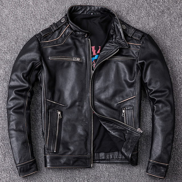 RETRO VINTAGE BLACK MEN CROSS GENUINE COW LEATHER JACKET