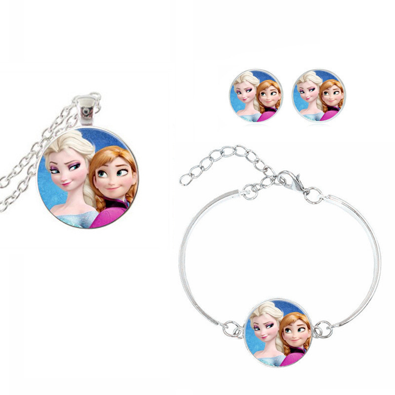 Cute Cartoon Jewelry Sets Anna Elsa Princess Glass Dome Cabochon Pendant Necklace Bracelet Earrings Love Gifts For Kids Girl