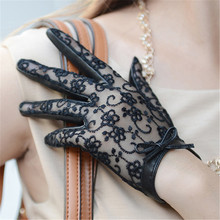 High Quality Real Leather Gloves Female Autumn Winter Thin Woman Lace Butterfly Knot Touchscreen W-09