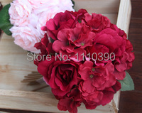 25 CM Artificial Silk Roses Flowers Kissing Ball Wedding Flowers Bridal Bouquets For Diy Bride Grooms