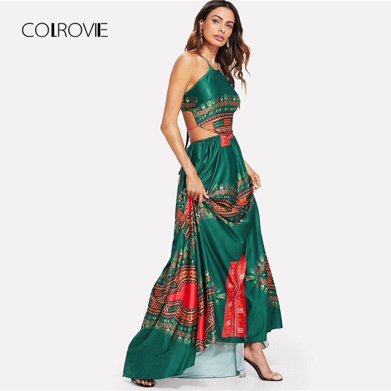 COLROVIE Green Backless High Waist Maxi Dress 1