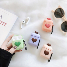Cartoon 3D Colours Heart Wireless Bluetooth Earphone Silicone Case For Apple AirPods2 1 Charging
