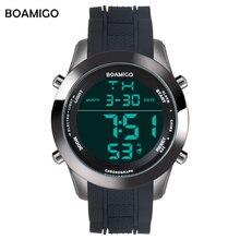 Los hombres relojes deportivos militar relojes correa de caucho caliente pantalla LED digital al aire libre reloj BOAMIGO marca 30 M resistente al agua wistwatches
