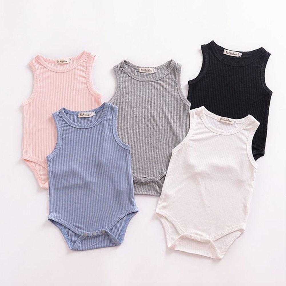 0-24M Newborn Toddler Baby Bodysuit Boy Girl Sleeveless Cotton Bodysuit Jumpsuit Outfit Pure Color Casaul Clothes 5 Colors