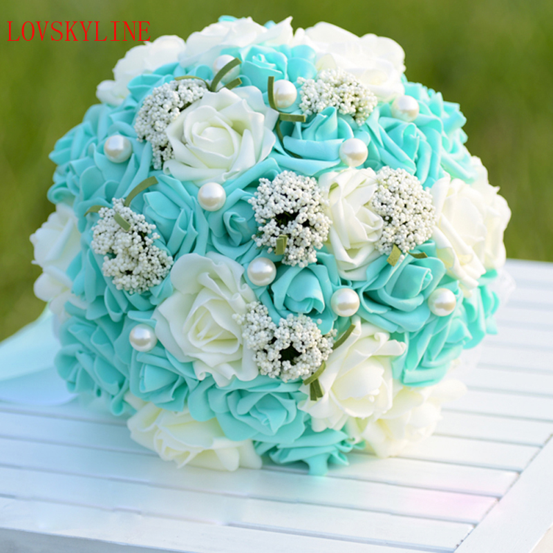 Handmade Wedding Flowers: Beautiful Blue PE Pearls Wedding Bouquet Handmade Bridal