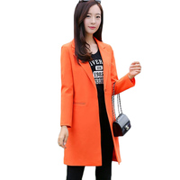 New Women Long Blazer Coat 2019Spring Korean Business Office Suit Jackets Ladies Blazers Solid Slim Female Tops Outerwear AA548