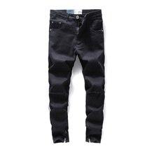 Black Color Skinny Jeans Men Classical Elastic Ankle Zipper Ripped Jeans For Men DSEL Brand Hip Hop Jeans hombre Streetwear цены онлайн