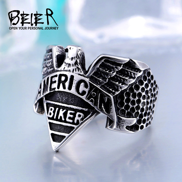 American Stainless Steel Punk Biker Motorcycle Freedom Eagle Ring Animal Jewelry for man drop shipping BR8-206