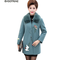 Middle Age High Quality Autumn Winter Woolen Coat New Big Yards Women Mid Long Heavy Hair