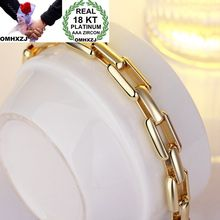 OMHXZJ Wholesale Personality Fashion Man Party Gift Gold Square Circles Chain 18KT Bracelet+Necklace Jewelry Set SE36