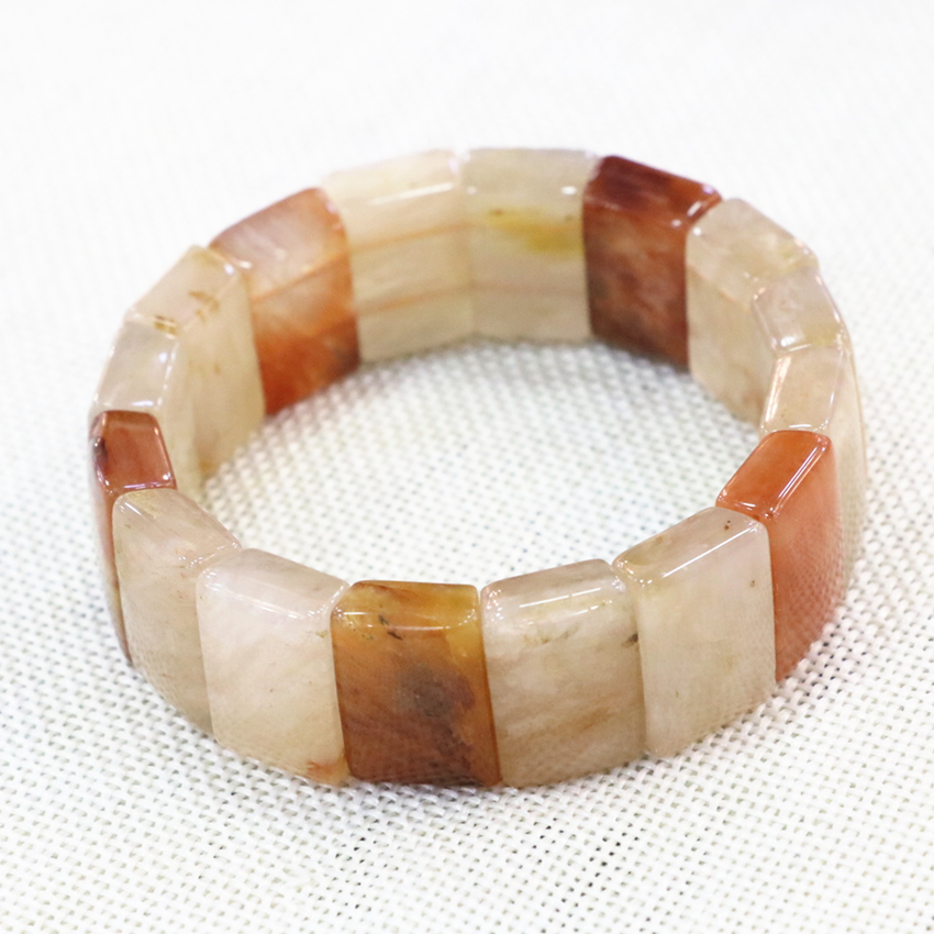 14x20mm Natural Stone Bangle Jades Chalcedony Geometry Yellow Beads Beaded Bracelet For Women Luxury Manual Jewels 7.5inch B3280