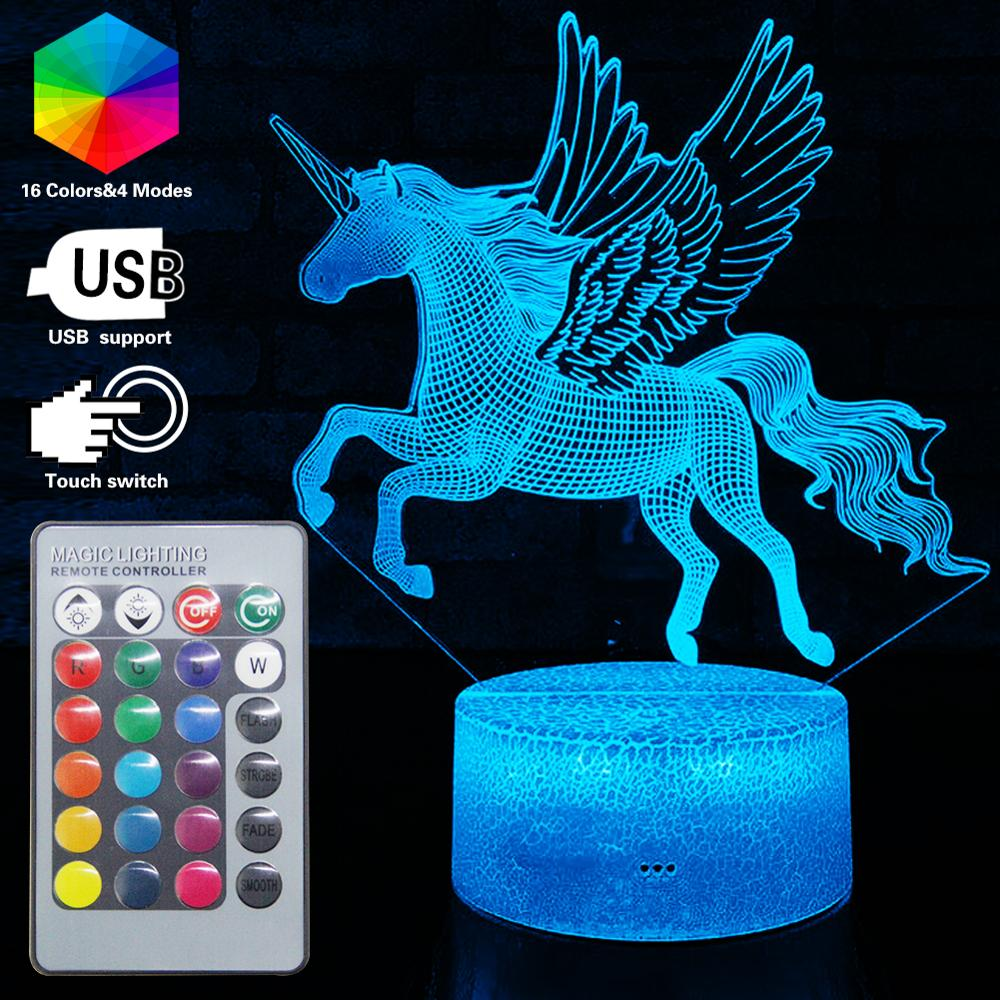 Creative Unicorn 3D LED NightLight Remote Table Desk Lamp 16 Color Illusion Decor Luminaria Kids Bedroom Party Birthday Toy Gift in LED Night Lights from Lights Lighting