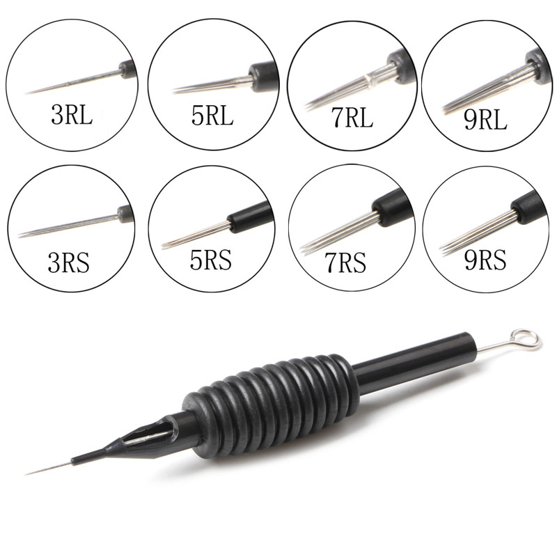 1Pc Sterile Disposable Tattoo Needle Tube Grip Tip RL RS Silicone Handle Black