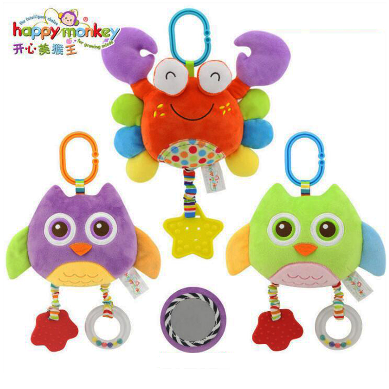 Baby Teether Toys Hanging Stroller Plush Toys Hanging Bed Spiral Activity Cartoon Teether Plush Toy C: crab