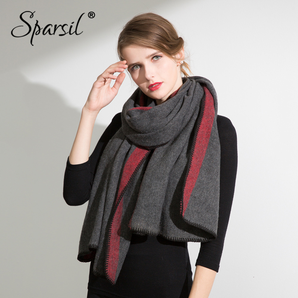 Sparsil Women Winter Cashmere Scarf Pashmina Solid Wool Warm Wraps Female Patchwork Long Thick Shawl Big Size 200*70cm Blanket
