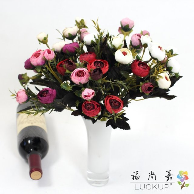 1 Pcs Artificial Flower Dark Color Small Camellia Silk Rose Home - Which-artificial-flower-colors-are-good-for-a-home