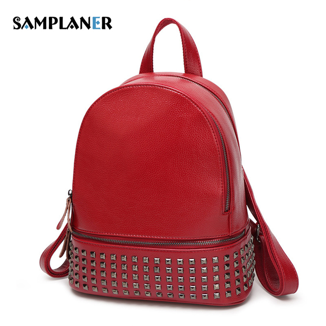 Samplaner Punk Black Rivet Backpacks Womens Faux leather Backpack Casual  Daypack Student Schoolbag For Teenagers Laptop Bags d0f28c06cb923