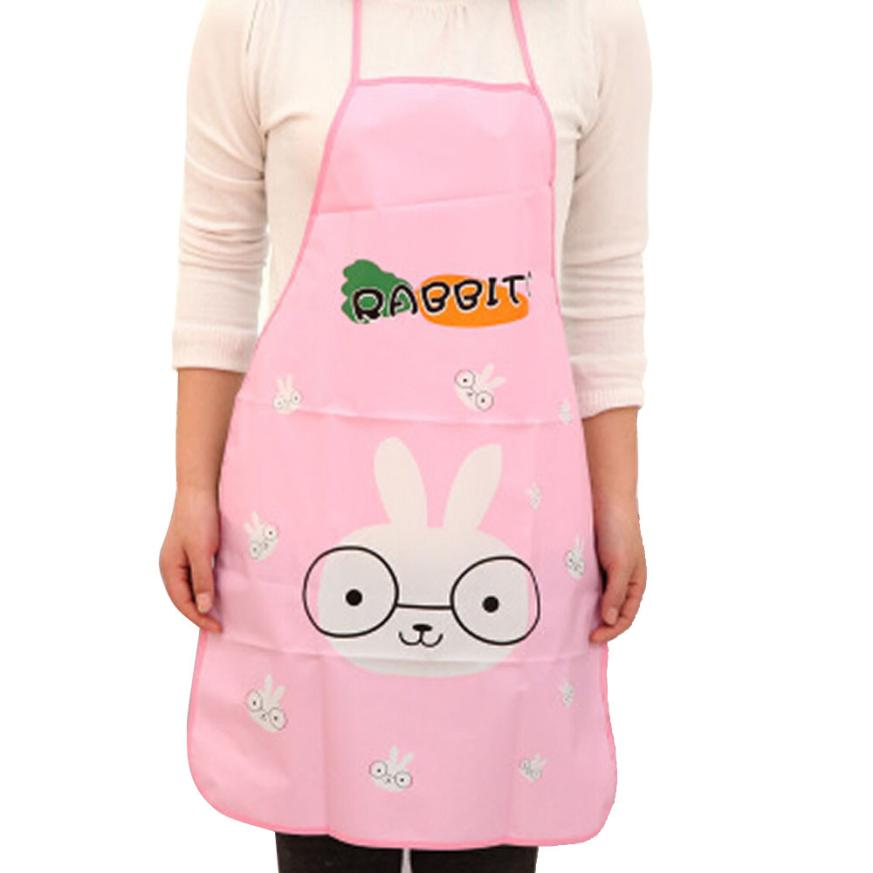 Hot!2017 Popular Apron Women Waterproof Cartoon Kitchen Cooking Bib Apron drop shipping Apr13