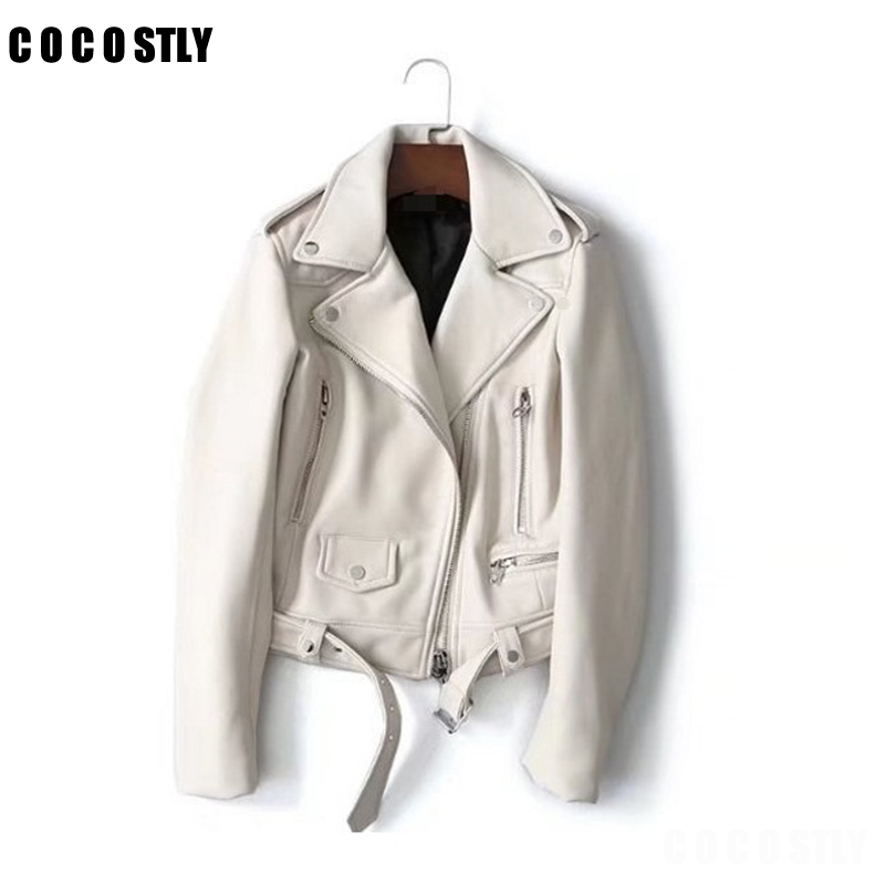 2019 New Arrial Women Autumn Winter Faux   Leather   Jackets Female Lady Matte Motorcycle Coat Biker White Outwear chaqueta mujer