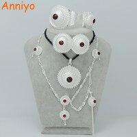 Anniyo 3 KAMIEŃ Srebrny Kolor Etiopii Zestaw Biżuterii Włosów Pin/Łańcuch Czole Habesha Erytrei Prezent Ślub Pozycja #000917