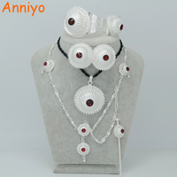 RED BLUE GREEN STONE Silver Plated Ethiopian Jewelry Sets Hair Pin Forehead Chain Eritrea Jewelry Habesha
