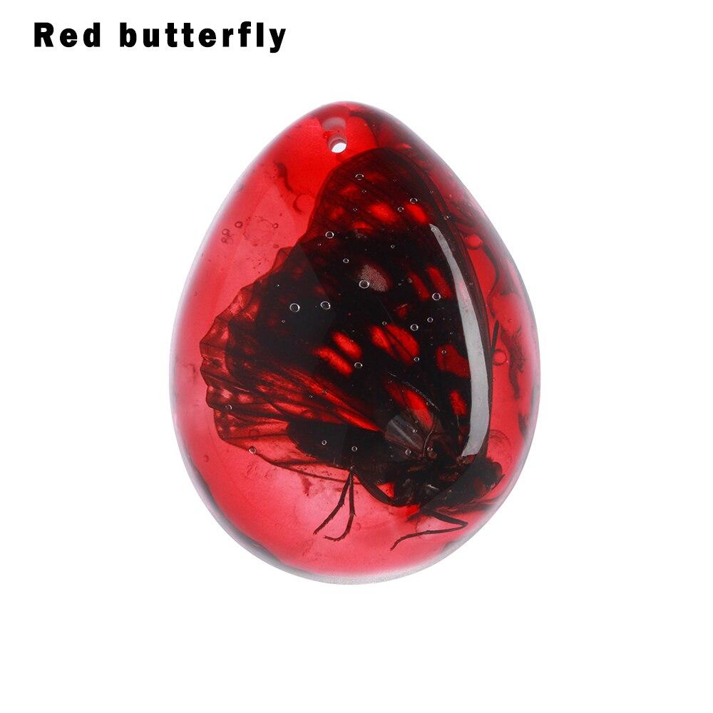 1 шт. модные натуральные насекомые Янтарный каменный орнамент оригинальность скорпионы бабочка пчела краб украшения DIY ремесла кулон подарок - Цвет: red butterfly