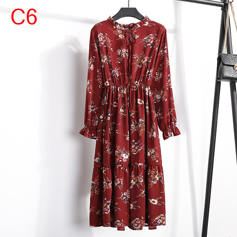 Korean Black Shirt Vestidos Office Polka Dot Vintage Autumn Dresses Women Winter Dress 19 Midi Floral Long Sleeve Dress Female 101