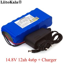LiitoKala 14.8V 12Ah 4s6p 18650 li-iom battery pack night fishing lamp heater miner's amplifier batteries with BMS+16.8V Charger