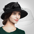 100% Wool Winter Vintage Hats Ladies Elegant Hats For Women Black Veil Cap