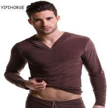 Шелковистые вискоза домашняя человек капюшоном рубашка топы повседневная пижамы мужской мужская