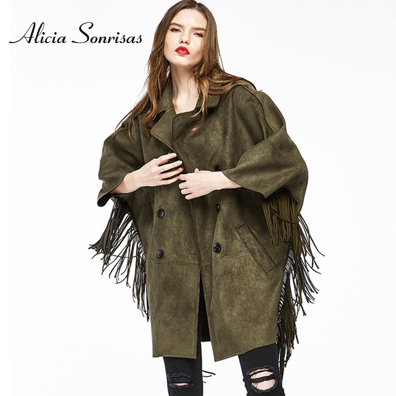 2018 Autumn Suede   Trench   Coat For Women New Tassel Female Windbreaker Loose Three Quarter Batwing Sleeve Street Coat HR5009