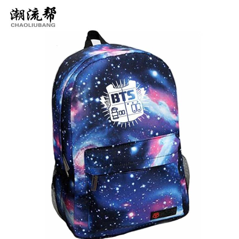 CHAOLIUBANG Korean Women Backpack BTS Printing School Bag for Teenage Girls Boys Waterproof Travel Bag Nylon Mochila Galaxia