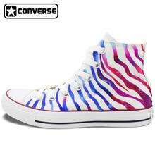 Colour Zebra Stripes Original Design Converse Chuck Taylor Custom Hand Painted Shoes Man Woman High Top Sneakers Women Men