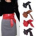WANAYOU Women Wide PU Leather Belt Ceinture Femme,4 Colors Long Soft Bowknot Girdle Cinturon Waistband Cummerbund For Female