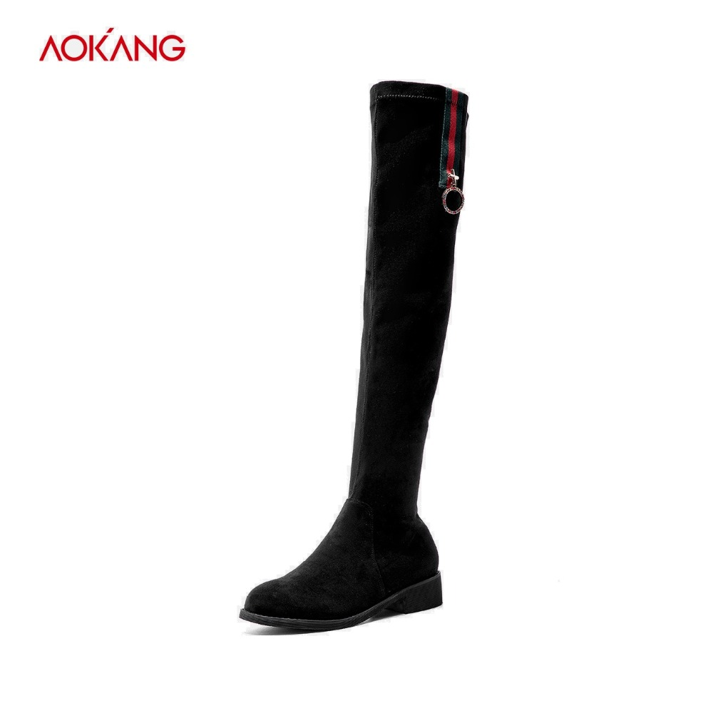 AOKANG 2018 Thigh High Boots Female Winter Boots Women Fashion Stretch Fabric Shoes Woman Over the Knee Boots Warm botas mujer 4kg refill laser copier color toner powder kits for xerox 113r00692 113r00689 113r00690 phaser 6120 6115mfp 6115 6120mfp printer