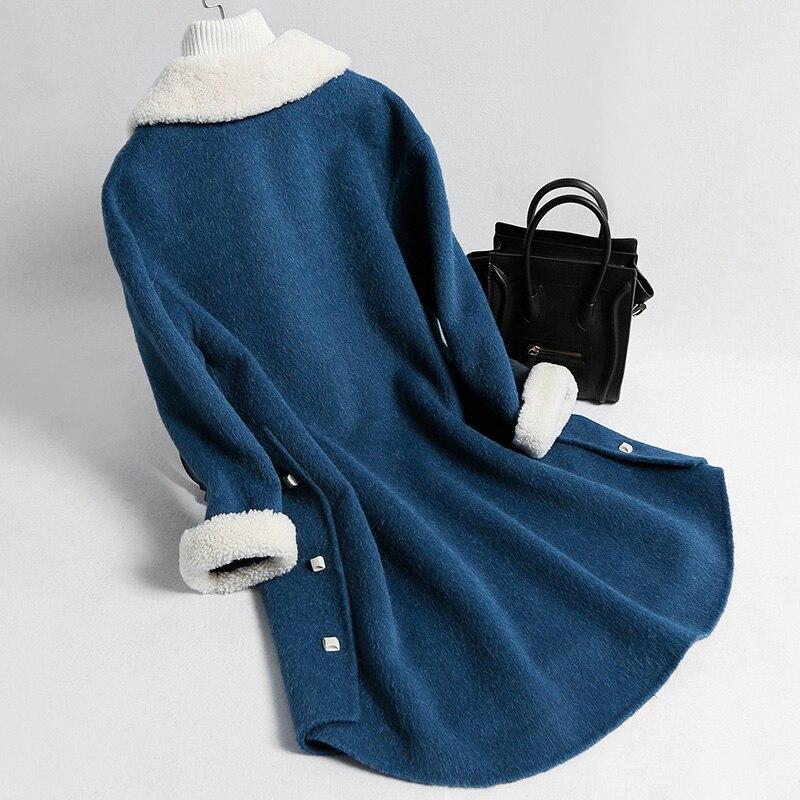Femmes D'hiver Des La jaune Mouton Manteau Vraie Fourrure Femme bleu Beige Manteaux Royal Vestes Veste De Laine txq1x8B