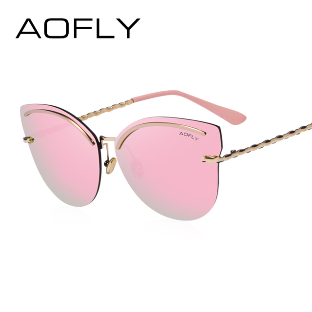 AOFLY Rimless Sunglasses Women Pink Revo Reflective Sun Glasses Alloy Legs Elegant Style Glasses Original Designer oculos AF7941