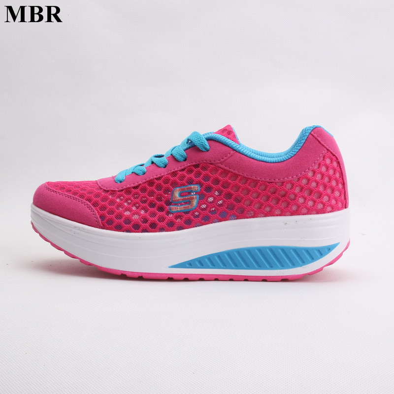 MBR New Breathable air mesh fitness slimming shoes women lace up platform casual shoes low top height increasing swing shoes lin king new women slimming swing shoes height increasing ankle boots lace up elevator shoes outdoor travel muffins single shoes