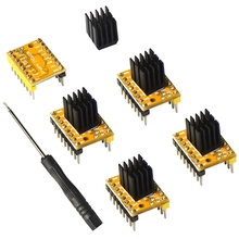 Stepper Motor Driver Tmc2208, 5Pcs For Fdm 3D Printer Mother Board Packed With Heat Sink Screwdriver, Yel