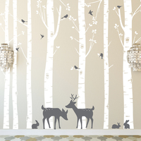 Huge Size Trees Wall Stickers Set Of 7 Birch Trees With Deer And Birds In 2