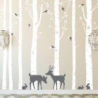 סט של 7 ליבנה עצי עצי מדבקות קיר גודל ענק עם צבי וציפורים ב 2 צבעים ZA316 העץ דקור מדבקות הקיר ויניל נשלפים