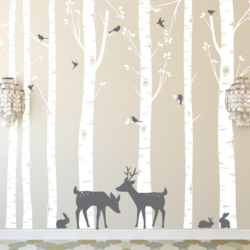 ضخم حجم الأشجار ملصقات الحائط مجموعة من 7 بيرش الأشجار مع الغزلان والطيور في 2 ألوان للإزالة الفينيل جدار الشارات شجرة ديكور ZA316-في ملصقات الحائط من المنزل والحديقة على  مجموعة 1