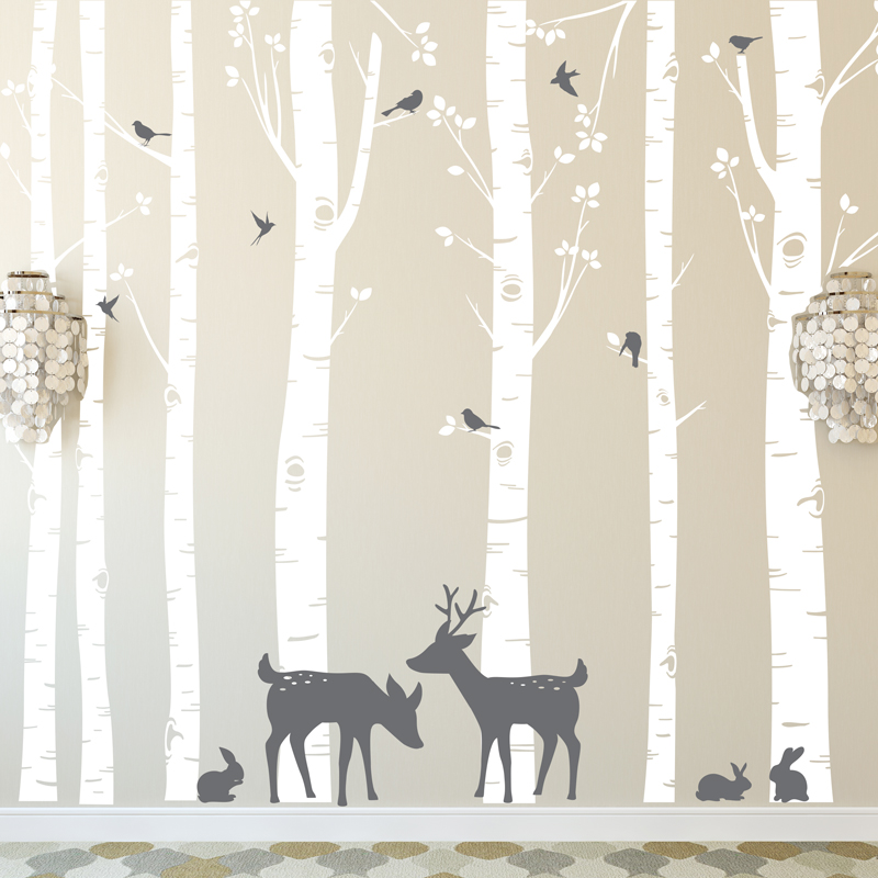 Huge Size Trees Wall Stickers Set of 7 Birch Trees with Deer and Birds in 2 Colors Remov ...