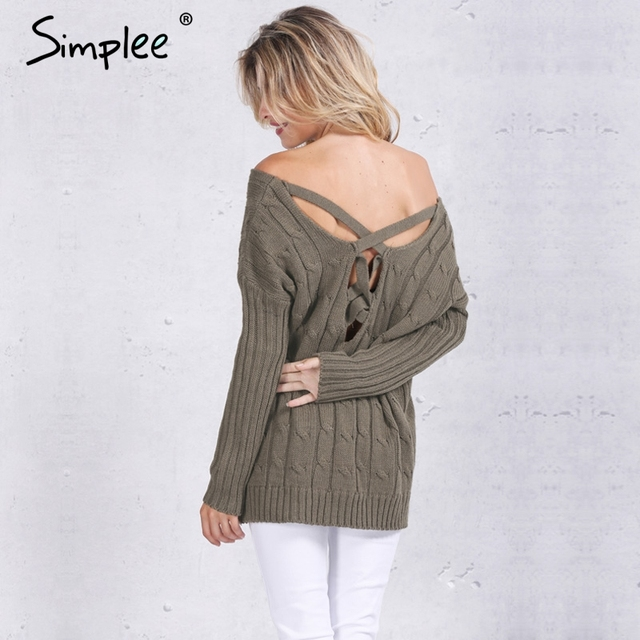 Simplee Autumn cross top Backless knitted sweater women 2016 Oversized winter knitwear Loose jumpers white pullover