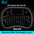 5 colores Rii mini i8 Teclado inalámbrico Qwerty Original Touchpad retroiluminada Combo PC Teclado para Tablet HTPC Andorid / Smart TV